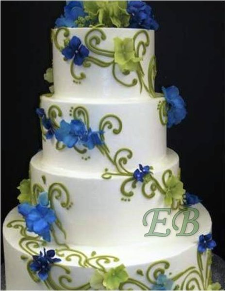 9 Blue And Green Wedding Cakes Photo - Blue and Green Wedding Cake ...