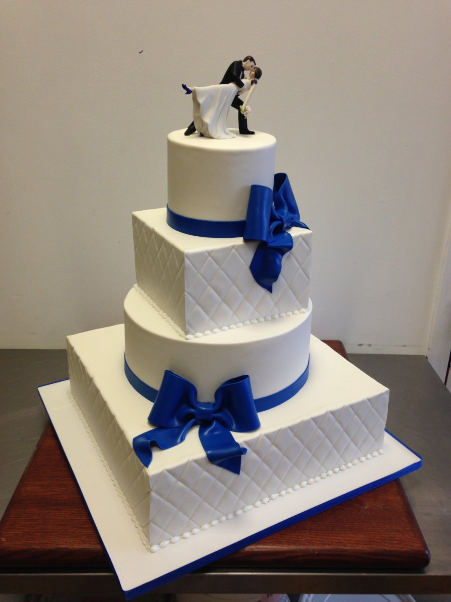 10 Blue Ribbon Square Wedding Cakes Photo Blue Square Wedding Cake