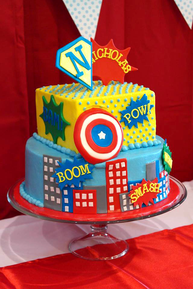 Terrific 11 Superhero 1St Birthday Boy Cakes Photo Boys Superhero Birthday Cards Printable Riciscafe Filternl