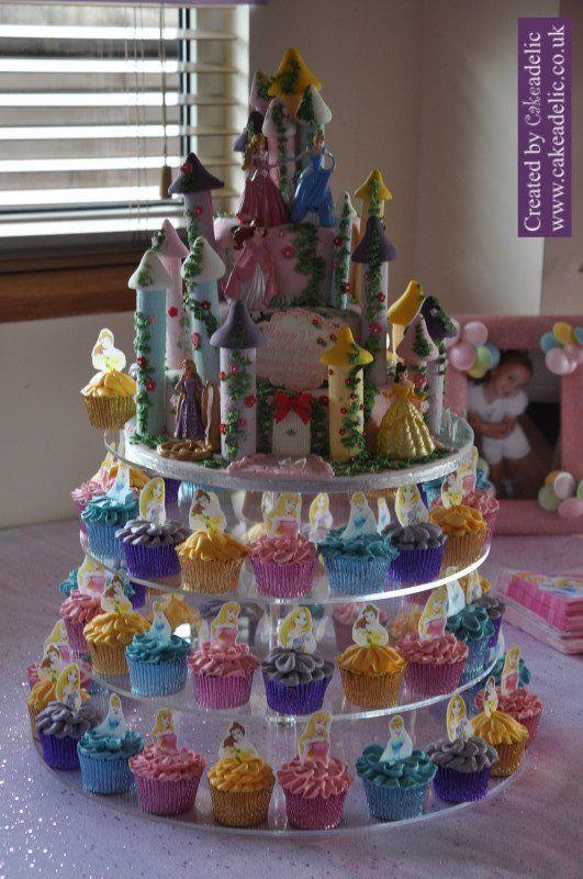 Surprising 12 Disney Castle Cupcakes Photo Disney Princess Birthday Cakes Funny Birthday Cards Online Inifodamsfinfo