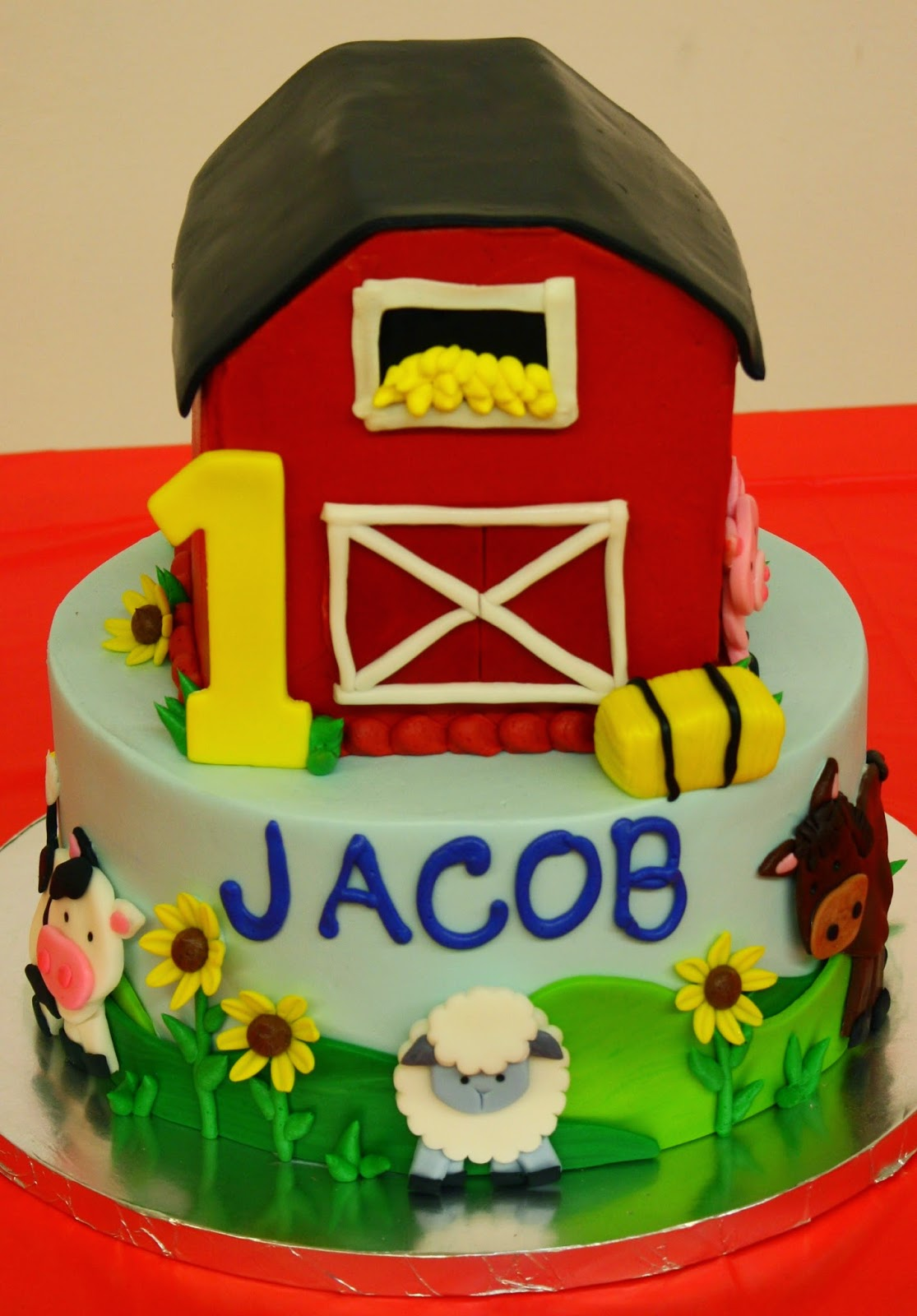 10 Farm 1st Birthday Cakes Photo Farm Birthday Cake Farm Animals