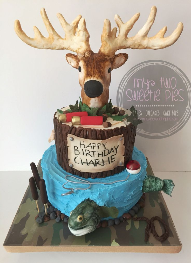 Hunting Fishing Birthday Cake