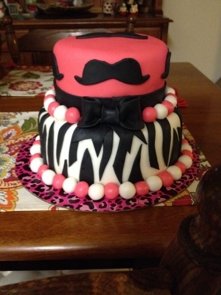 11 Mustache Birthday Cakes For Teen Boys Photo Pink Mustache