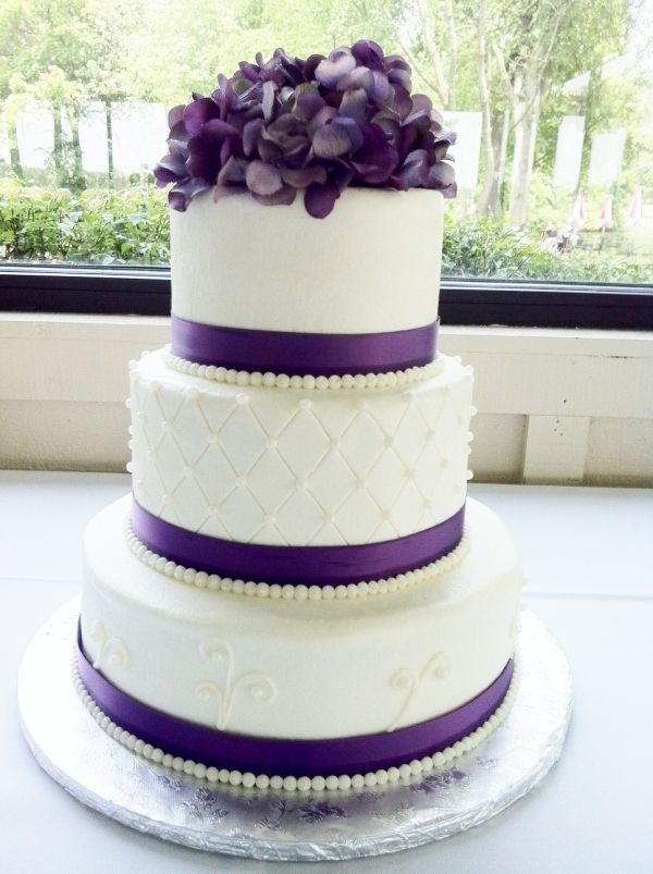 9 Purple Square And Round Wedding Cakes Photo Purple And White