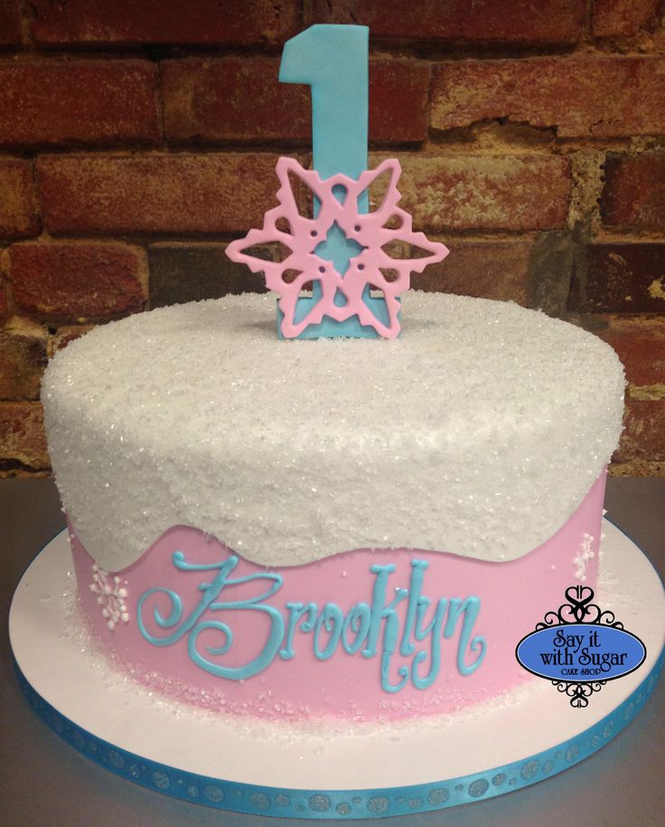 12 Snowflake Pink Tiered Birthday Cakes Photo Winter Onederland