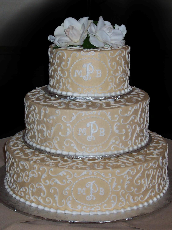 White Wedding Cake Gold Scrolls