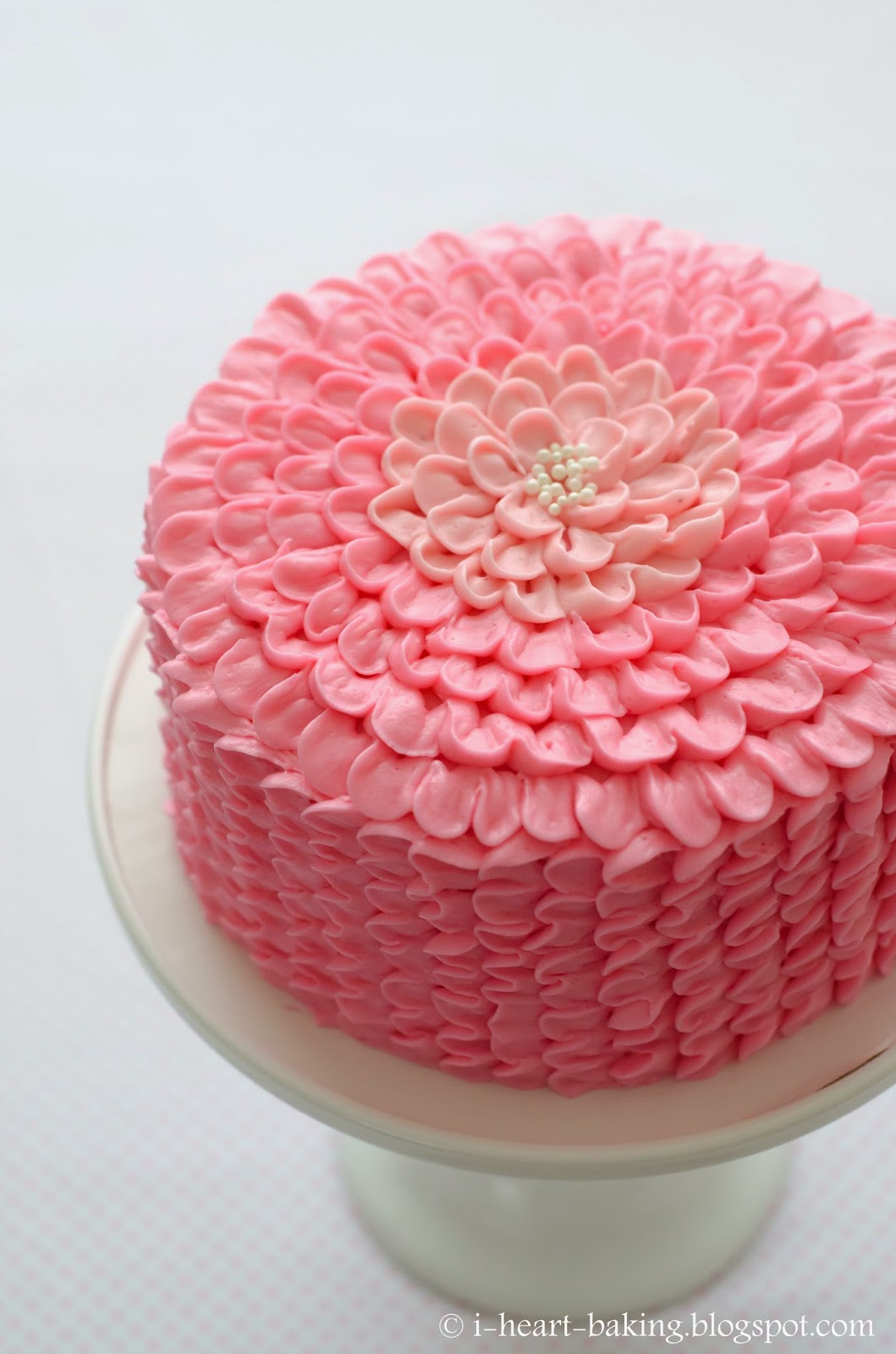 8 Hot Pink Icing Flower Cakes Photo Turquoise And Pink Birthday