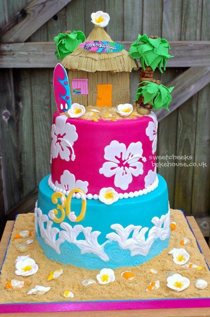 Awesome 9 Hawaiian Themed Cakes For Girls Photo Hawaiian Theme Birthday Funny Birthday Cards Online Kookostrdamsfinfo