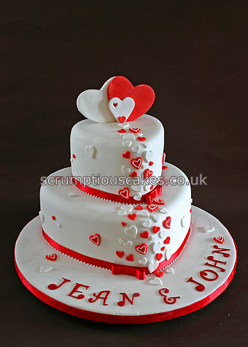 10 Red And White Wedding Cakes With Hearts Photo Red And White