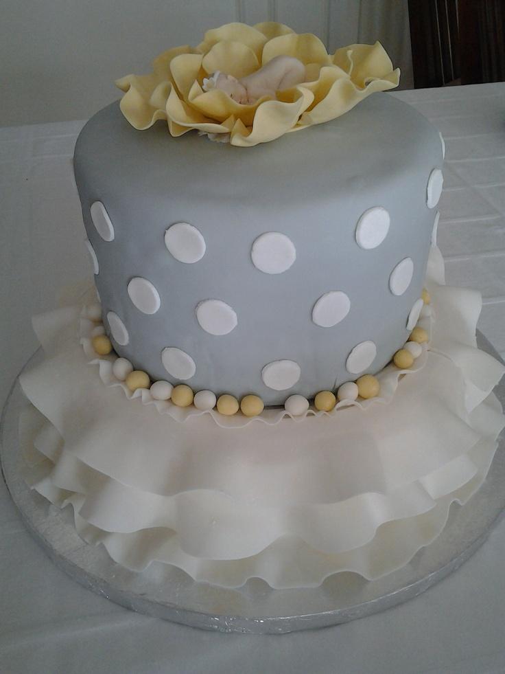 12 Yellow Baby Shower Cakes Photo Yellow And Grey Baby Shower Cake