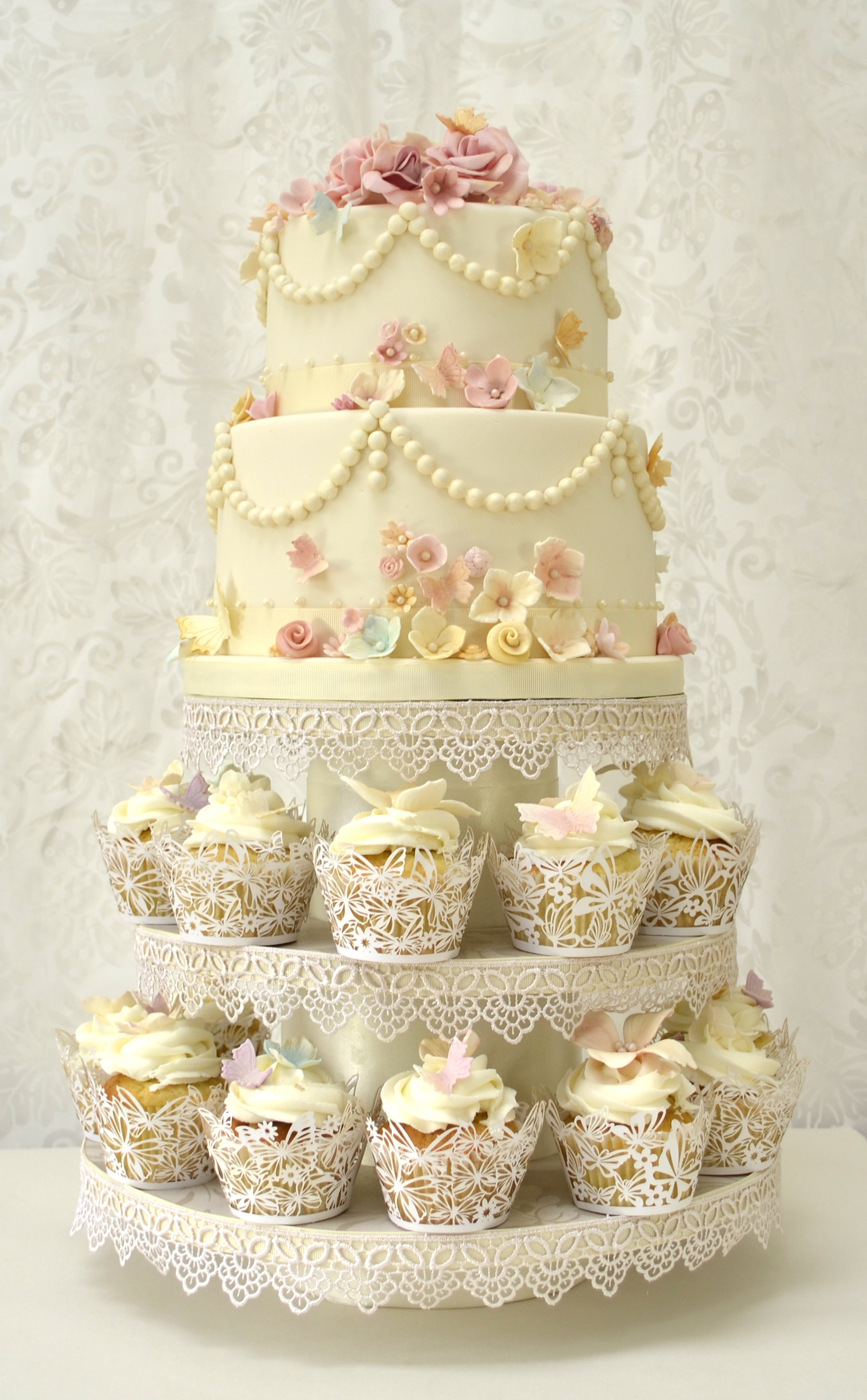 10 Top 2 Tier Wedding Cake With Cupcakes Photo - Two Tier Cake with ...