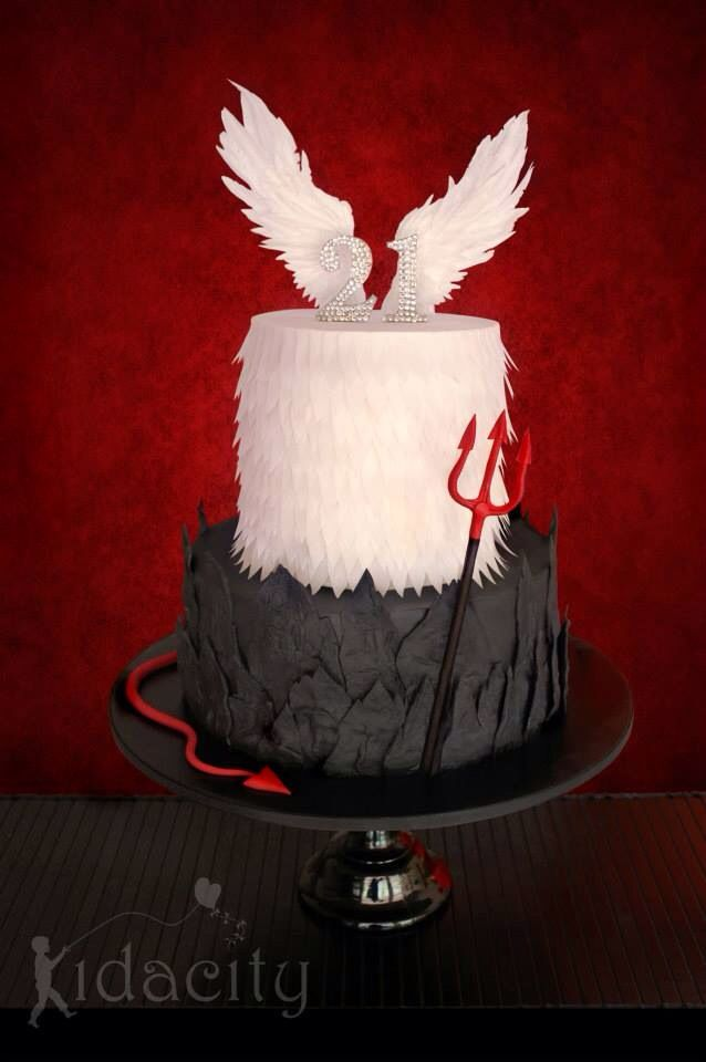 Magnificent 12 Angel Devil Birthday Cakes Photo 21St Birthday Cake Angel Birthday Cards Printable Nowaargucafe Filternl