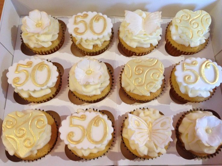 13 Cupcakes Decorated For 50th Wedding Anniversary Photo