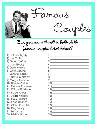 free printable couples bridal shower games