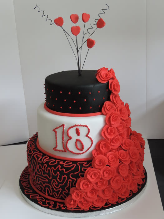 Cool 10 Red And Black 2 Tier Birthday Cakes Photo Stars Red White And Funny Birthday Cards Online Inifodamsfinfo