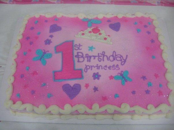 1st Birthday Princess Sheet Cake