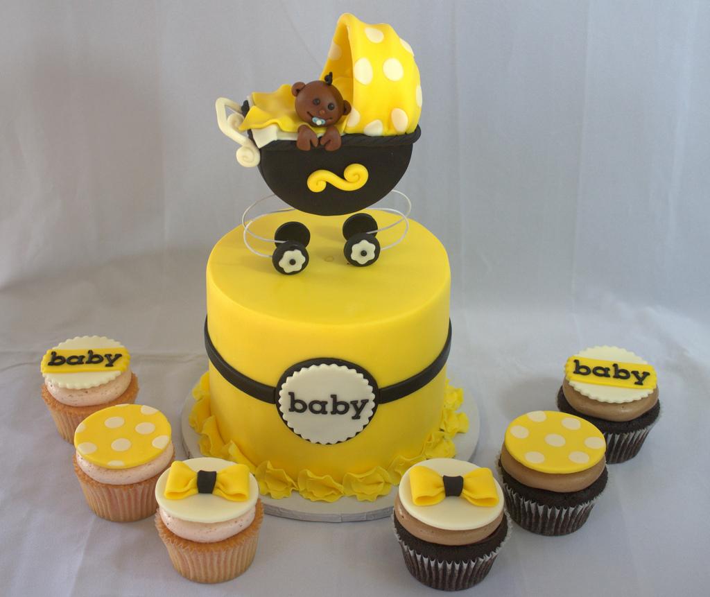 10 Yellow White Shower Cake Cupcakes Photo Black And White Bridal