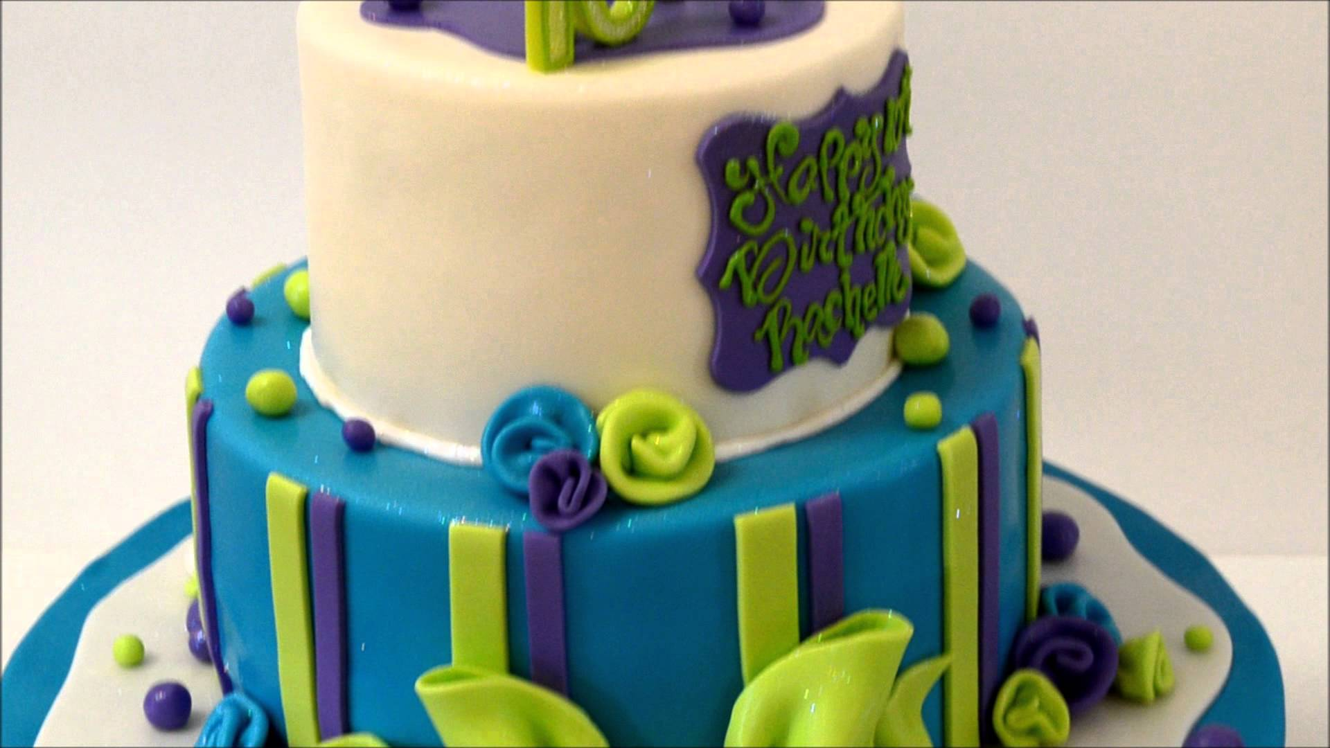 8 Green And Blue Colored Birthday Cakes Photo Lime Green And Blue