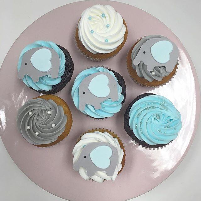 8 White And Blue Elephant Baby Shower Cupcakes Photo Elephant Baby