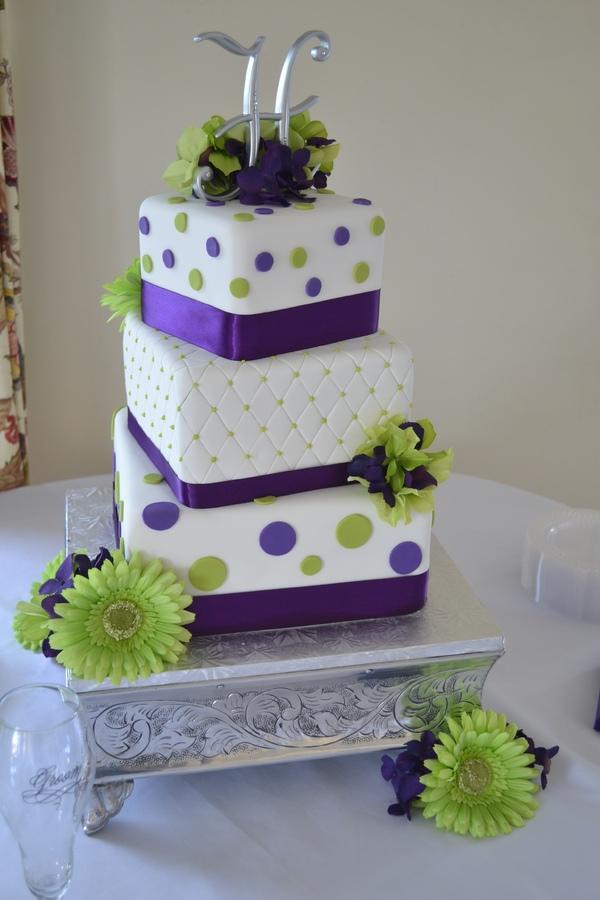 9 Yellow Purple Square Wedding Cakes Photo - Green and Purple Square ...