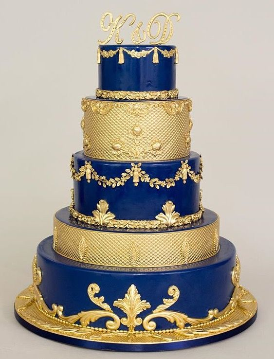 12 Cakes Blue And Gold Theme Photo Royal Blue And Gold Wedding
