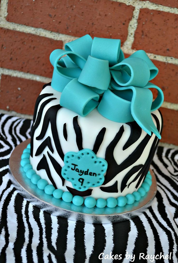 8 Zebra Cakes For Girls 8 Photo Blue and Pink Zebra Print Cakes