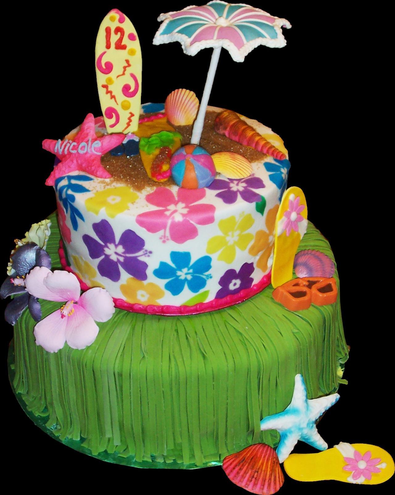 Astonishing 9 Tropical Themed Birthday Cakes Photo Hawaiian Theme Birthday Funny Birthday Cards Online Fluifree Goldxyz