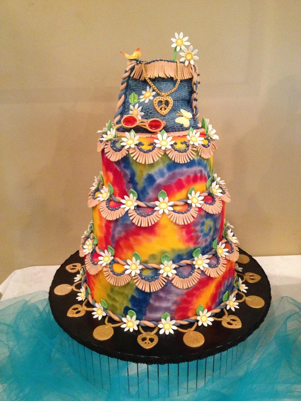 11 60s Wedding Cakes Photo Hippie Birthday Cake Ideas Vintage