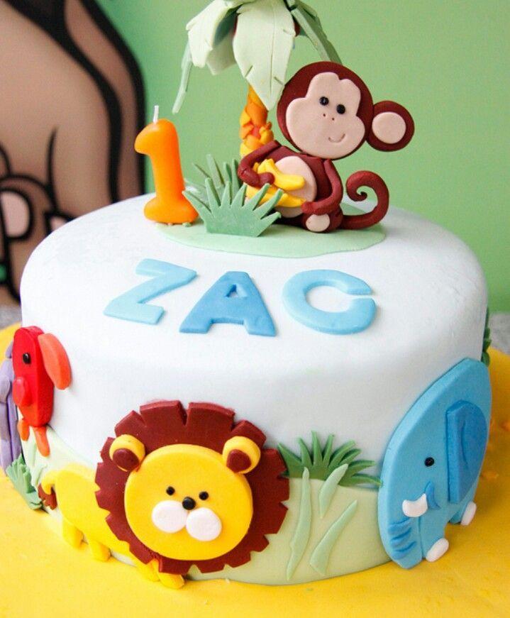 12 Baby Zoo Animal Birthday Cakes Photo Jungle Themed 1st Birthday