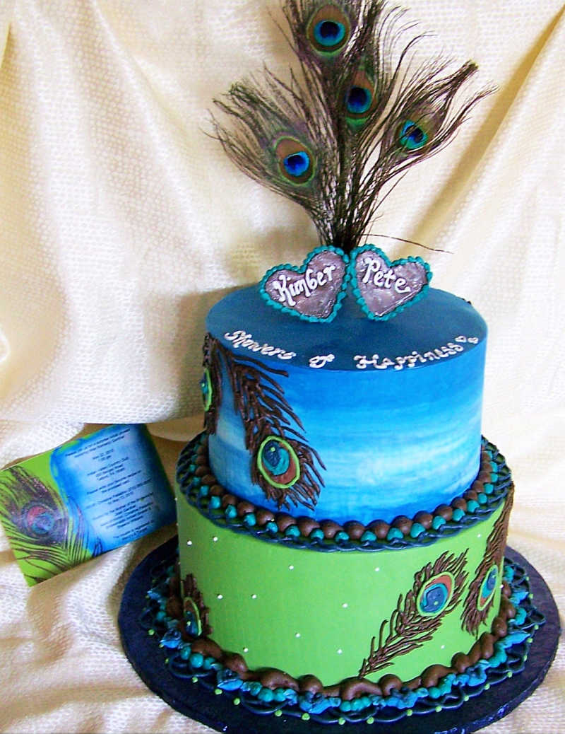 Phenomenal 10 Round Peacock Feather Birthday Cakes Photo White Round Personalised Birthday Cards Veneteletsinfo