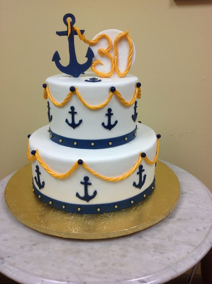 Astounding 12 Anchor Birthday Cakes Boy Photo Anchor Cake Nautical First Funny Birthday Cards Online Alyptdamsfinfo