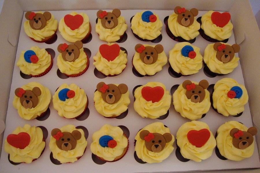18a580c118c Pink Teddy Bear Cupcake via. Chocolate Vanilla Cupcakes