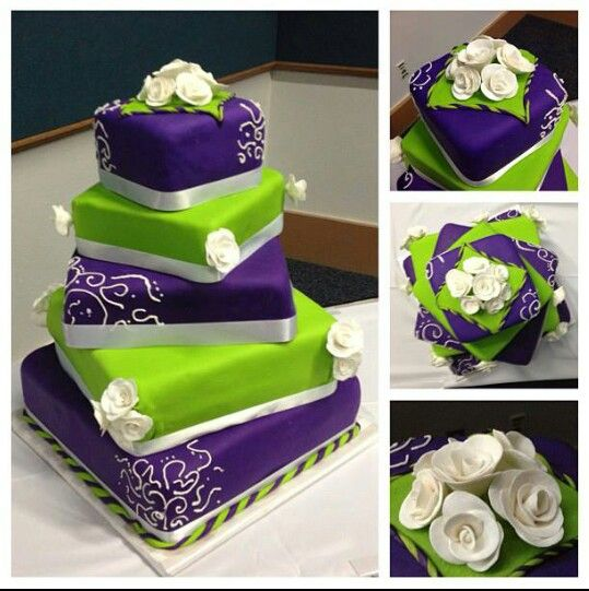 Lime Green And Purple Wedding Cake