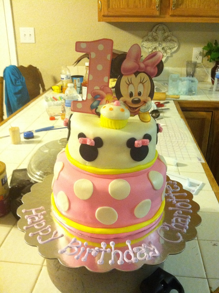 Sensational 12 Baby Minnie Mouse 1St Birthday Pull Away Cakes Photo Baby Funny Birthday Cards Online Alyptdamsfinfo