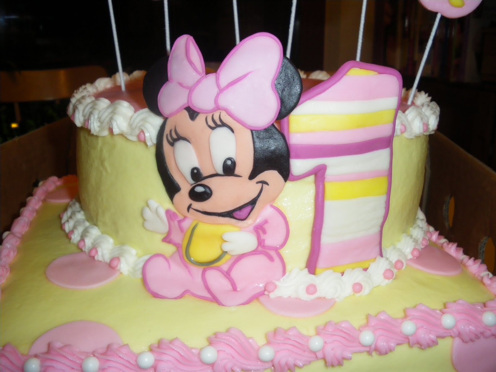 Remarkable 12 Baby Minnie Mouse 1St Birthday Pull Away Cakes Photo Baby Funny Birthday Cards Online Alyptdamsfinfo