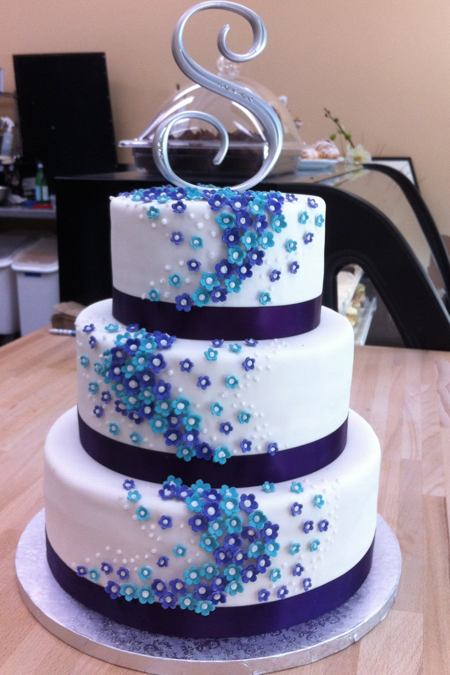 Blue And Purple Flower Wedding Cake