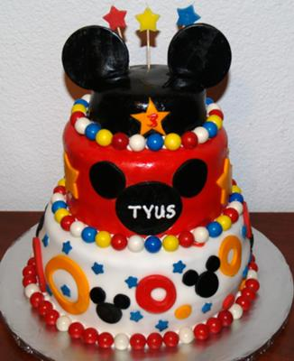 9 Mickey Mouse Three Tier Round Cakes Photo Mickey Mouse Cake