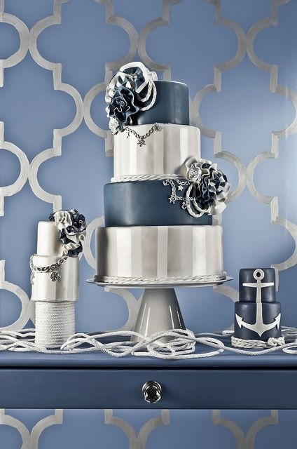 10 Navy Blue And Silver Wedding Cakes In White Photo Navy Blue And
