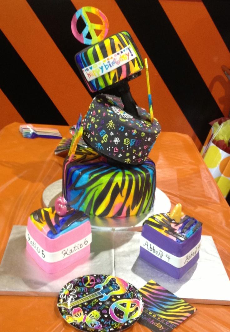 Outstanding 10 Cool Neon Cakes Photo Neon Girl Birthday Cake Ideas Neon Birthday Cards Printable Riciscafe Filternl