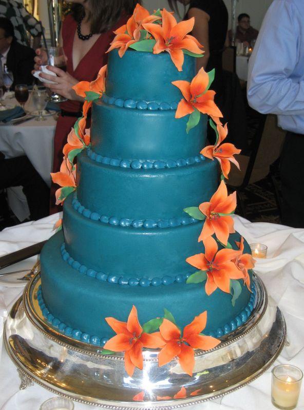 11 Teal And Orange Wedding Cakes Photo