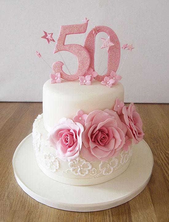 7 50th Wedding Anniversary Cakes Pink Roses Photo 50th Birthday