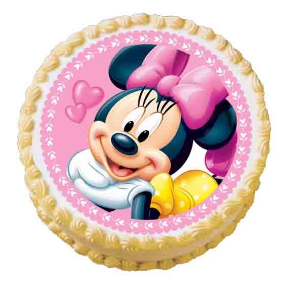 6 Minnie Mouse Round Birthday Cakes Photo Minnie Mouse Edible