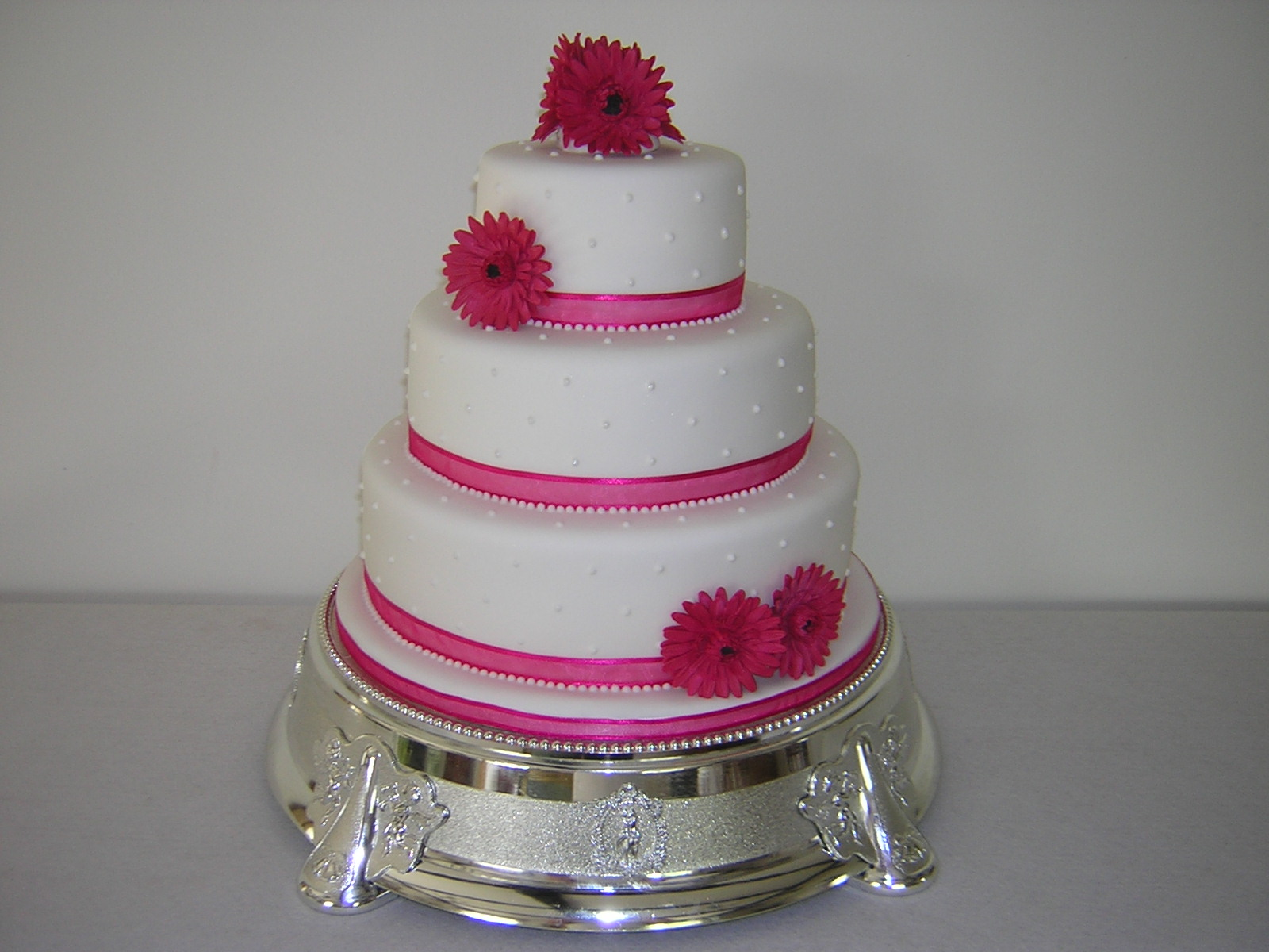 10 Hot Pink 3 Tier Elegant Wedding Cakes Photo 3 Tier Wedding Cake