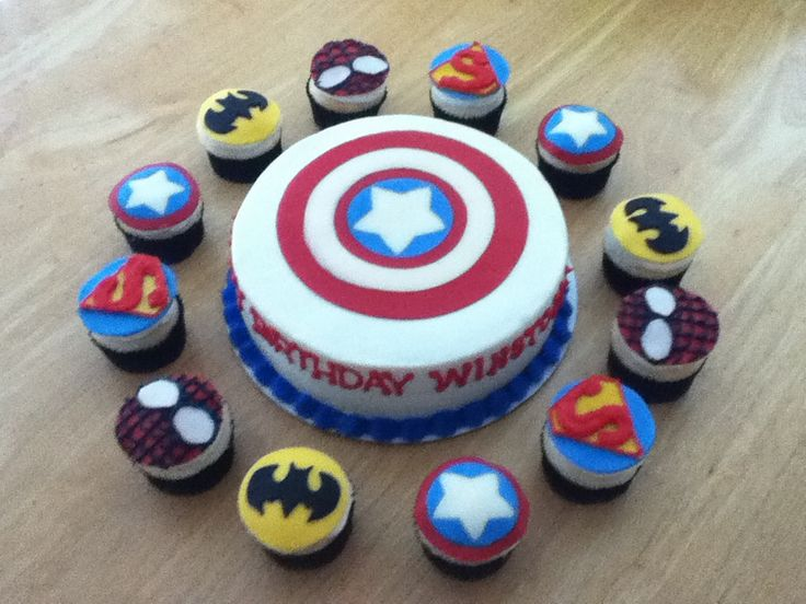 Terrific 12 Cupcake Birthday Cakes For Boys Avengers Photo Avengers Funny Birthday Cards Online Alyptdamsfinfo