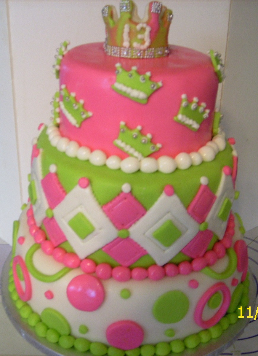 9 Celery Green And Pink Birthday Cakes Photo Pink And Green