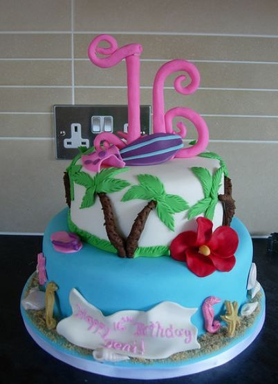 Hawaiian Sweet 16 Birthday Cakes