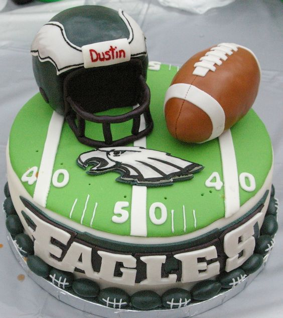 Stupendous 12 Eagles Football Cakes Photo Philadelphia Eagles Happy Personalised Birthday Cards Veneteletsinfo
