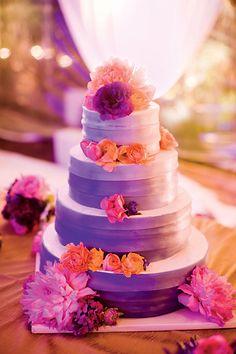 Pink Purple And Orange Wedding Cakes