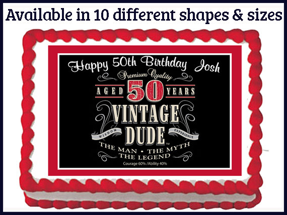 Vintage Dude 50th Birthday Cakes For Men