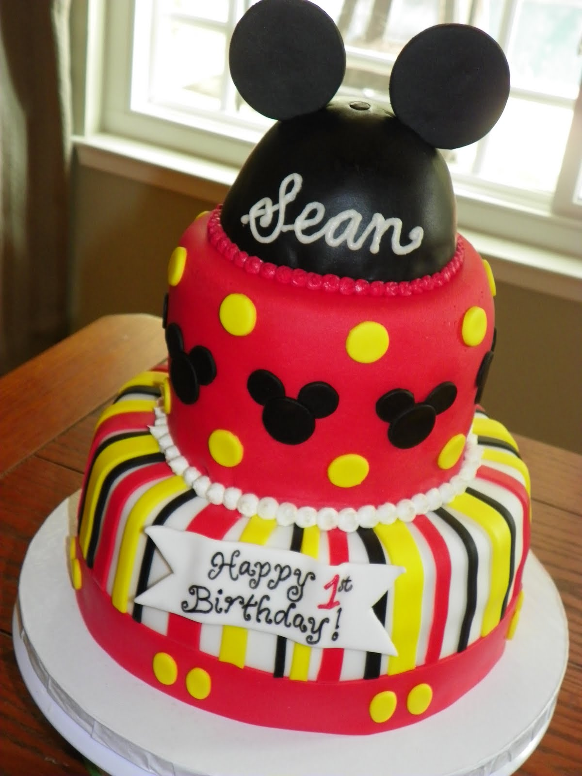 Admirable 10 Mickey Mouse Bithday Cakes Photo Mickey Mouse Birthday Cake Birthday Cards Printable Opercafe Filternl
